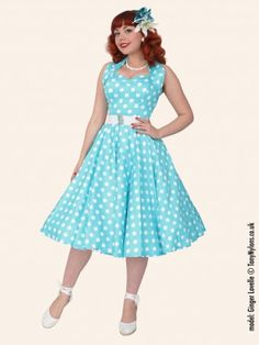 1950s Halterneck Turquoise Polkadot Dress - from Vivien of Holloway UK