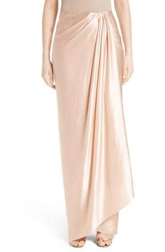 On SALE at OFF! grecian draped satin georgette wrap skirt by Marchesa. Precise draping creates elegant flow for a long, slim wrap skirt crafted from blushing pink silk satin. Kebaya Dress, Dress Pesta, Skirt Fashion, Hijab Fashion, Fashion Dresses, Women's Dresses, Hijab Style Dress, Modest Wedding Gowns, Fashion Figures