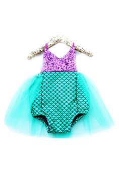 Little Mermaid Sparkle Romper With Emerald Tutu – Belle Threads #BelleThreadsPinterest