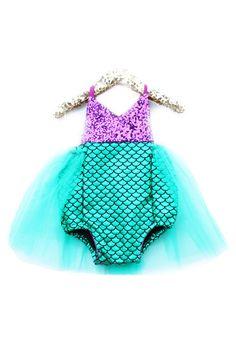 Little Mermaid Sparkle Romper With Emerald Tutu – Belle Threads #BelleThreadsPinterest