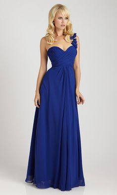 Long Chiffon One Shoulder Dress. In a light coral or peach and not so busty at the top. LOVE THIS BLUE!!!