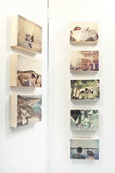 30+ Fotowände und Fotocollagen Ideen - Fotos auf Holz