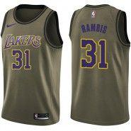 e3576c5a7b5 NBA Los Angeles Lakers Jersey : Kurt Rambis Salute to Service Swingman  Men's Green Nike Jersey