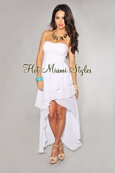 White Tiered High-Low Strapless Padded Dress