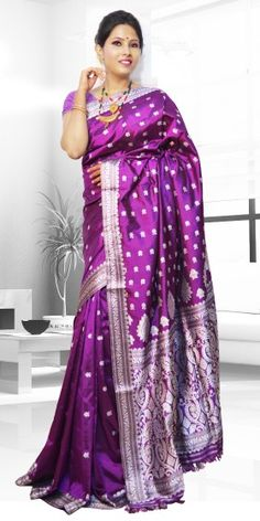 Beautiful Purple colour Assam Silk Pat saree with artistic Suta Work giving a gorgeous look to the saree. This collection is perfect for any festive occasion. The Saree comes with matching blouse piece, the blouse shown in the image is just for display purpose.Slight colour variation may be there in display & actual.
