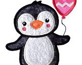 Birthday Penguin applique design - machine embroidery design- Many formats - INSTANT DOWNLOAD