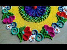 Diwali rangoli design/Diwali kolam/muggulu design 2019 - YouTube Rangoli Designs Simple Diwali, Happy Diwali Rangoli, Rangoli Simple, Rangoli Designs Latest, Simple Rangoli Designs Images, Rangoli Designs Flower, Small Rangoli Design, Rangoli Patterns, Colorful Rangoli Designs