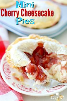 Mini Cherry Cheesecake Pies are an easy and giftable treat! Refrigerated pie crusts, cherry pie filling and an easy, creamy cheesecake center! Cherry Cheesecake Pie, Cheesecake Recipes, Jello Recipes, Yummy Recipes, Mini Cherry Cheesecakes, Mini Cherry Pies, Best Ever Potato Salad, Cherry Desserts, Mini Desserts