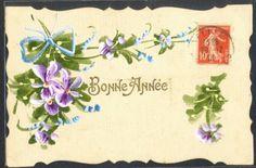 MW063-PEINTE-a-la-MAIN-Bonne-Annee-VIOLETTES-RUBAN-FANTAISIE-HAND-PAINTED