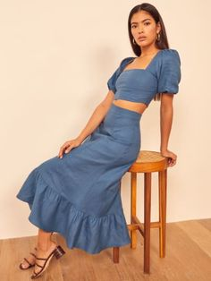 This is a two piece set with a square neck cropped top with puff sleeves, and a midi length, trumpet skirt. The Yucca is slim fitting in the bodice with a relaxed fitting skirt. Two Piece Outfit, Two Piece Skirt Set, Two Piece Dress Casual, Skirt And Top Set, Summer Outfits, Cute Outfits, Outfits Mujer, Bustier, Spring Dresses