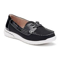 Croft & Barrow® Women's Ortholite Boat Shoes, Size: 7.5, Black