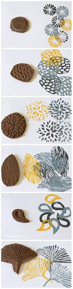 printmaking ideas for kids Stamp carving tutorial. Stamp Printing, Printing On Fabric, Diy Printing, Stamp Carving, Arts And Crafts, Diy Crafts, Decor Crafts, Ideias Diy, Fabric Painting
