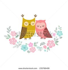 Two cute owls in love and flower wreath.
