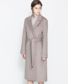 COAT WITH LAPELS AND BELT from Zara