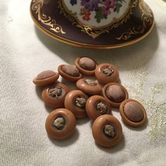 Vintage Vegetable Ivory Butterscotch Buttons -fabric inset 201623 by Jessamines on Etsy