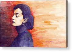 Watercolour Acrylic Print featuring the painting Audrey Hepburn 1 by Yuriy…