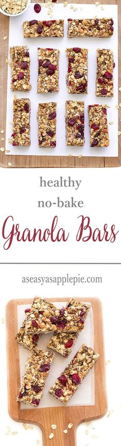 Diet Snacks Healthy no-bake granola bars : vegan, gluten-free and refined sugar-free. Perfect for breakfast or as a snack - These healthy no-bake granola bars are chewy and delicious.They are vegan, gluten-free and refined sugar-free. Healthy Bars, Healthy Treats, Healthy Baking, Healthy Granola Bars, Paleo Bars, Vegan Recipes, Snack Recipes, Cooking Recipes, Cake Recipes
