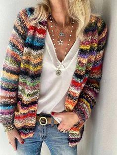 Cardigan Multicolor, Striped Cardigan, Sweater Cardigan, Rainbow Cardigan, Cardigan Fashion, Long Cardigan, Crochet Cardigan, Casual Sweaters, Sweaters For Women