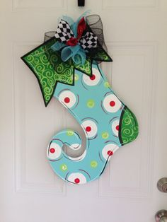 Stocking door hangerChristmas door by Furnitureflipalabama on Etsy