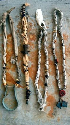 recycled materials (linen from tablecloth, bolts, pipes, shell, yarn from unraveled sweater) with bamboo and clay beads Fiber Art Jewelry, Mixed Media Jewelry, Textile Jewelry, Fabric Jewelry, Boho Jewelry, Jewelry Crafts, Jewelry Art, Jewelry Design, Jewellery