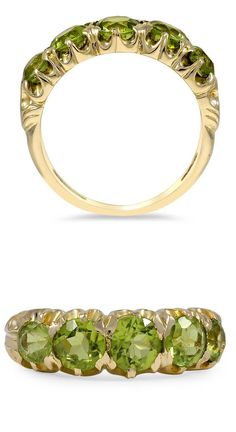 This Retro-era ring displays five captivating peridots in a timeless yellow gold setting (Peridot approx. 2.45 carat weight).