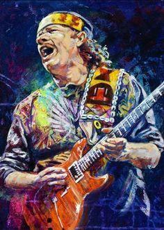 Fine art print featuring legendary Rock guitarist Carlos Santana by artist Robert Hurst Music Painting, Music Artwork, Art Music, Music Artists, Rock And Roll, Pop Rock, Musik Illustration, Tableau Pop Art, Guitar Art