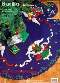 Bucilla ~ Celestial Angels ~ 43 Felt Christmas Tree Skirt Kit #83669. This is a discontinued 1997 pattern so if you love it please make sure you dont miss the chance to purchase this rare and hard to find kit. The rich red, green, gold, yellow and other colors used for the