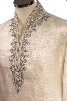 We have used rich benarasi brocade material for this kurta set. The silver bead and pearl hand work complements the self coloured thread embroidery. The kurta is lined with cotton for comfort.With matching draw stringed churidar trousers. Kurta Pajama Men, Kurta Men, New Saree Designs, Kurta Designs, Designer Suits For Men, Designer Clothes For Men, Indian Men Fashion, Mens Fashion Suits, Gents Kurta Design