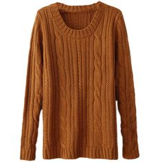 Yellow Sexy Ladies Patchwork Cable Knit Plain Pullover Sweater ($24) ❤ liked on Polyvore featuring tops, sweaters, yellow, brown pullover sweater, yellow sweater, chunky cable sweater, brown sweater and cable knit pullover sweater
