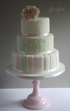 Pink & Green striped cake by Cotton and Crumbs, via Flickr