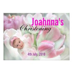 Baby Christening Invitation Pink Flowers