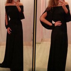 Black Sexy Cut Out Sleeves Maxi Dress – Daisy Dress For Less