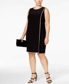 Betsy & Adam Plus Size Rhinestone Shift Dress