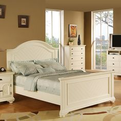 Picket House Addison White King Panel Bed