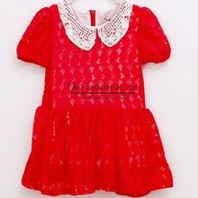2015 Summer Korean Styles Litte Girl Dress With Lace Neck Toddles Dresses Red And White Color Kids Flower Dress GD41115-25^^EI(Hong Kong)