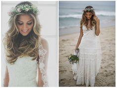 Traje de noiva-Coroa de flores-Look criativo para casamento na praia