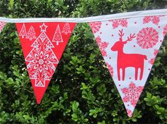 Nordic Christmas Fabric Bunting -- Red and White -- 3m