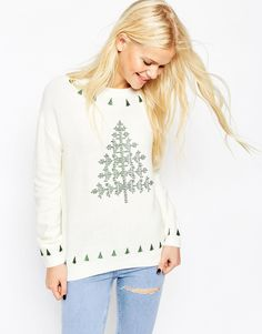 Image 1 of ASOS Embroidered Christmas Tree Jumper