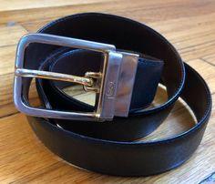 69baa8bbe28 Vintage Yves Saint Laurent Black/Brown Reversible Leather Belt w. Brass  Buckle #fashion