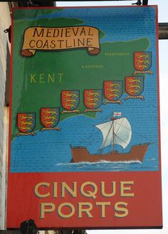 The Cinque Ports pub sign, Rye, Sussex, England.