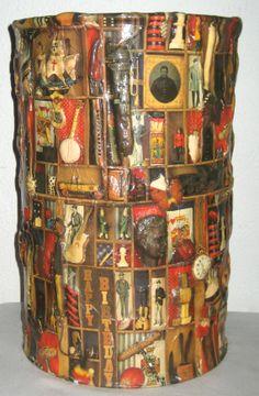 Vintage 70s decoupage 3D trash can folk art by sweetalicelovesyou, $68.00