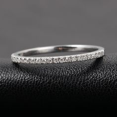 Half Eternity Band French V Micro Pave H SI Diamonds 14k White Gold Wedding Ring | eBay hint hint wink wink. Anniversary gift