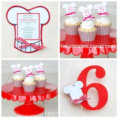 Baker's Man invite, cupcake toppers, cute number pennant.  These are printed for you.  Can customize~