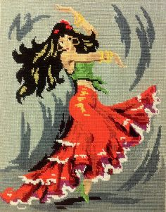 0 point de croix espagnole danseuse de flamenco - cross stitch spanish woman dancing flaminco