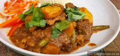 I cooked this delicious Durban Lamb Curry, with the intention of using less oil than normal and, for the first time, used coconut milk to thicken the gravy up a bit. It came out really well and the family really enjoyed it.