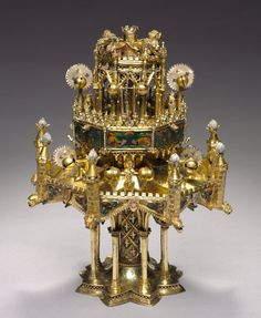 Table Fountain, c. 1320-1340 France, Paris, 14th century gilt-silver and translucent enamels, Overall - h:33.80 w:25.40 d:26.00 cm (h:13 1/4 w:10 d:10 3/16 inches).