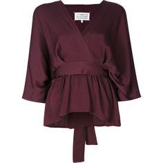 Maison Margiela tie waist v-neck blouse (€985) ❤ liked on Polyvore featuring tops, blouses, white, v neck tops, three quarter sleeve blouse, white v neck blouse, wrap blouse and white 3 4 sleeve blouse