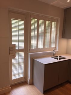 Full height white waterproof shutters in modern neutral kitchen Shutter Images, Neutral Kitchen, Window Shutters, Blinds, Windows, Curtains, Gallery, Modern, Inspiration