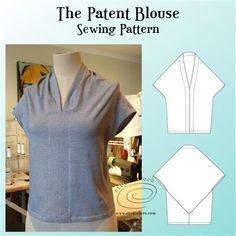 The Patent Blouse Sewing Pattern (well-suited) Pdf Sewing Patterns, Vintage Patterns, Dress Patterns, Blouse Styles, Blouse Designs, Tube Skirt, Loose Fitting Tops, Sewing Clothes, Slow Fashion