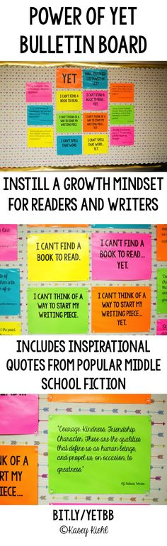 Teach the readers and writers in your classroom the power of yet and instill a growth mindset with inspirational quotes from popular middle school fiction.